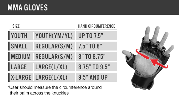 sizing chart for mma gloves
